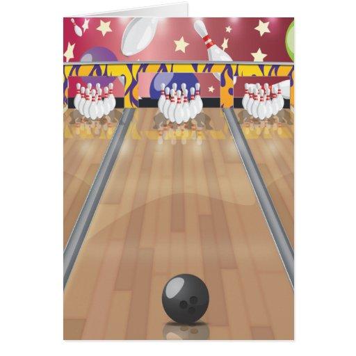 Ten-pin bowling greeting card