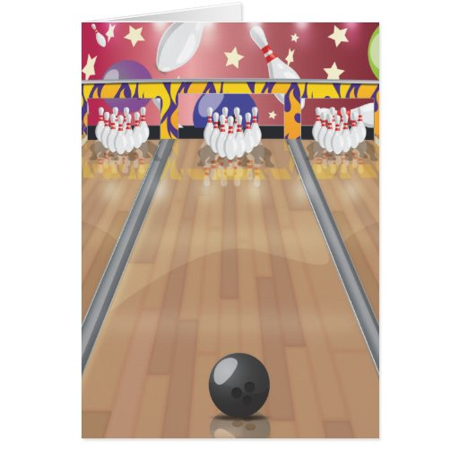 Ten-pin bowling greeting cards