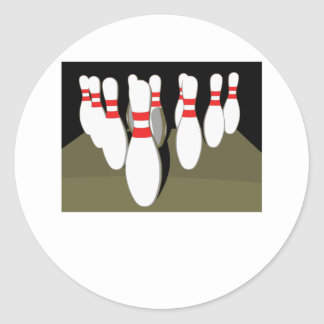 Ten Pin Bowling Round Stickers