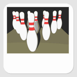 Ten Pin Bowling Square Stickers
