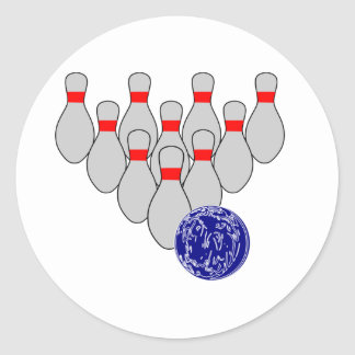 Ten Pin Bowling Stickers Round Sticker