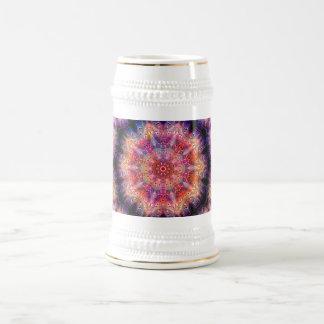 Ten Pointed Radial Colorful Kaleidoscope Beer Stein