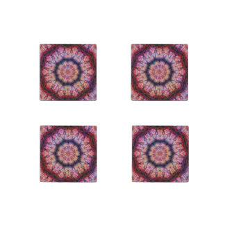 Ten Pointed Radial Colorful Kaleidoscope Stone Magnet