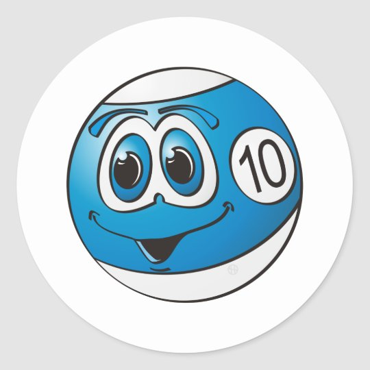 Ten Pool Ball Cartoon Classic Round Sticker