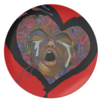 Ten Redefined - Sickle Cell Red Heart Art Melamine Plate