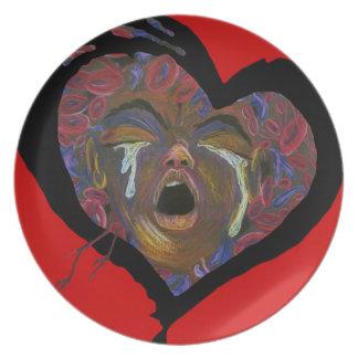 Ten Redefined - Sickle Cell Red Heart Art Melamine Plate