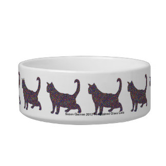Ten Stained Glass Cats Cat Food Bowl