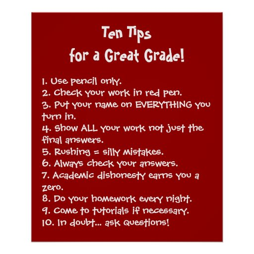 Ten Tips for a Great Grade Posters