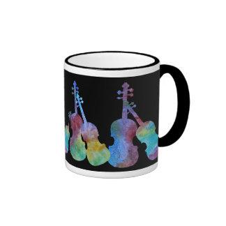 Ten Vibrant Violins on Black Ringer Mug
