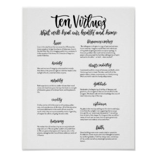 Ten Virtues: To Heal our Hearts and Home Poster
