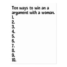 Ten Ways To Win An Argument With A Woman Postcards