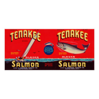 Tenakee Brand Salmon Label- Seattle, WA Poster