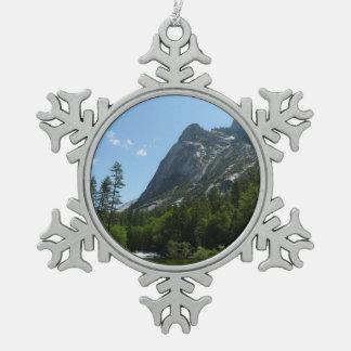 Tenaya Creek in Yosemite National Park Snowflake Pewter Christmas Ornament