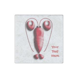 Tenazas en forma de corazón de la langosta roja imán de piedra