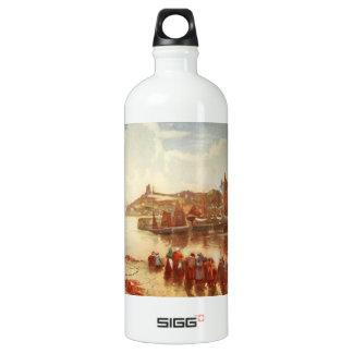 Tenby Castle and Harbour, Pembrokeshire, Wales Aluminum Water Bottle
