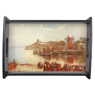 Tenby Castle and Harbour, Pembrokeshire, Wales Serving Tray