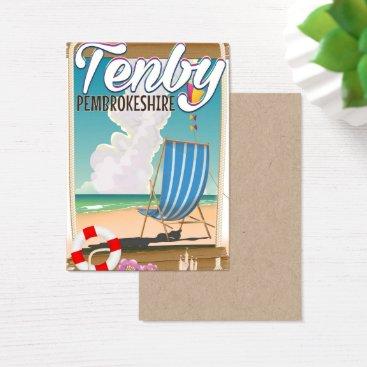 Beach Themed Tenby Pembrokeshire beach travel poster Business Card