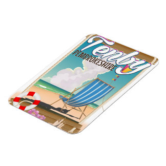 Tenby Pembrokeshire beach travel poster Magnet