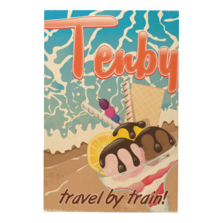 Tenby Pembrokeshire ice cream cartoon travel Wood Wall Art