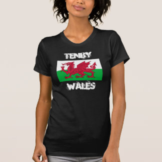 Tenby, Wales with Welsh flag T-Shirt