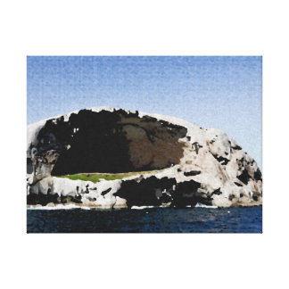 Tended fabric ocean rocks canvas print