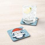 Tendencia del bigote del pingüino del navidad posavasos de bebida