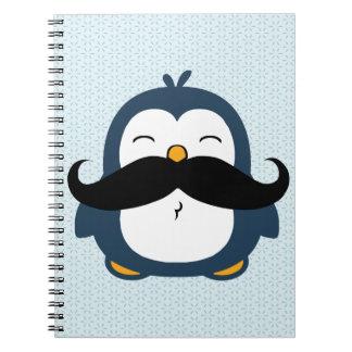 Tendencia del bigote del pingüino libro de apuntes con espiral