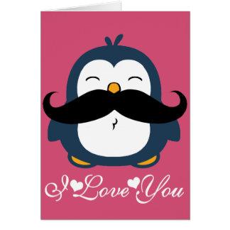Tendencia del bigote del pingüino te amo tarjeta de felicitación