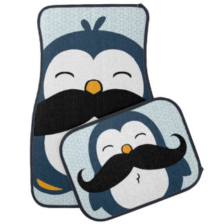 Tendencia del pingüino del bigote alfombrilla de coche