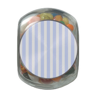 Tender Baby Blue Pale Sky Blue and White Stripe Glass Candy Jar