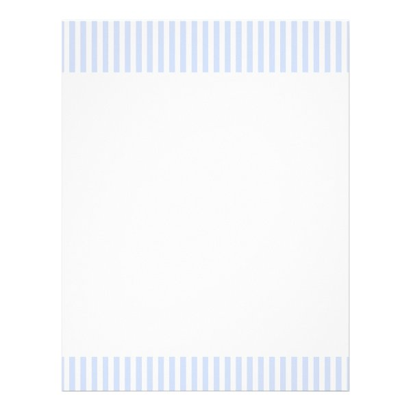 Tender Baby Blue Pale Sky Blue and White Stripe Letterhead