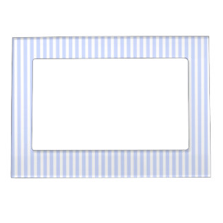 Tender Baby Blue Pale Sky Blue and White Stripe Magnetic Frame