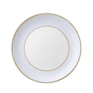Tender Baby Blue Pale Sky Blue and White Stripe Plate