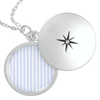 Tender Baby Blue Pale Sky Blue and White Stripe Round Locket Necklace