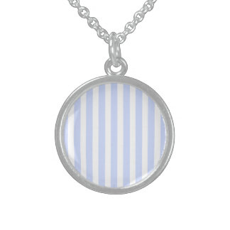 Tender Baby Blue Pale Sky Blue and White Stripe Round Pendant Necklace