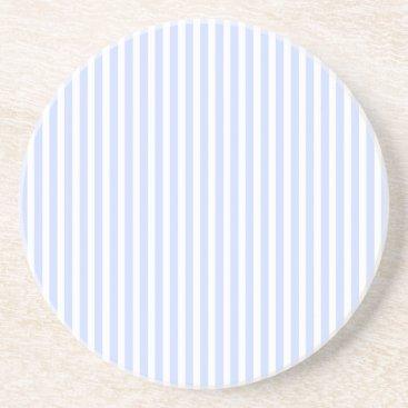 Beach Themed Tender Baby Blue Pale Sky Blue and White Stripe Sandstone Coaster