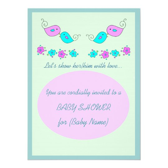 Tender Birds and Flowers Baby Shower Invitation