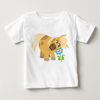 Tender Cartoon Pony and Flower Baby T-shirt