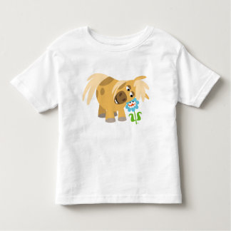 Tender Cartoon Pony and Flower Children T-shirt