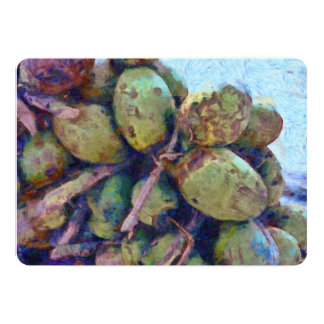 Tender coconuts in a pile card