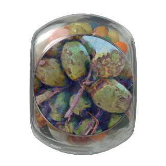 Tender coconuts in a pile jelly belly candy jar