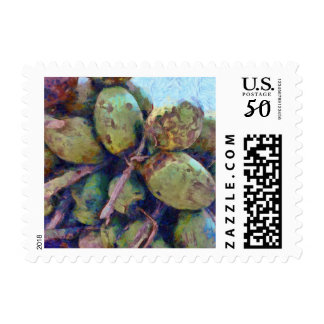 Tender coconuts in a pile postage