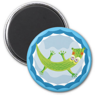 Tender crocodile 2 inch round magnet