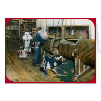 Tender el té teclea (circa 1902) tarjeta de felicitación