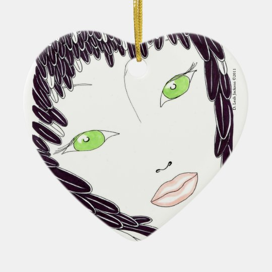 Tender Feathered /black Heart Ornament