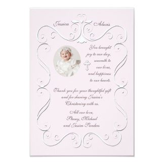 Tender Heart Pink Religious Photo Thank You Card