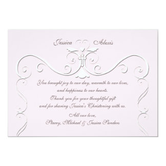 "Tender Heart Pink Religious Thank You 5"" X 7"" Invitation Card"