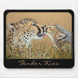 Tender Kiss Cheetah Baby & Mom mousepad
