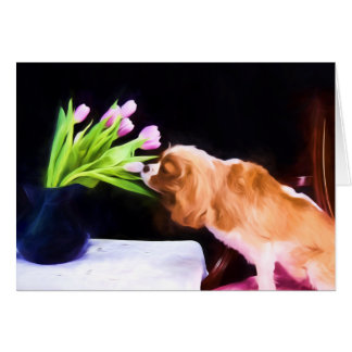 Tender Moment Cavalier King Charles & Tulips Card
