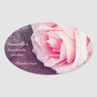Tender rose homemade scented candles oval sticker